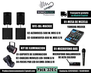 PRODUCCIONES SONOMUSIC presta servicio en la subcategoría de Equipos de sonido en Madrid