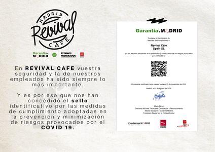 Revival Cafe presta servicio en la subcategoría de Restaurantes para comidas y cenas de empresa en Madrid
