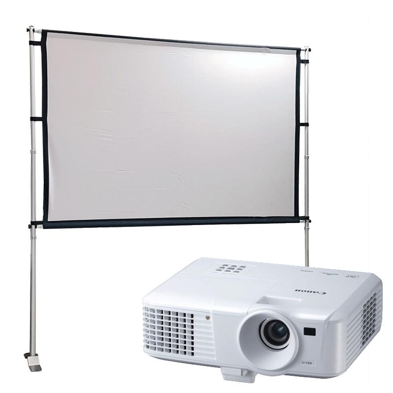 Proyector y pantalla desmontable