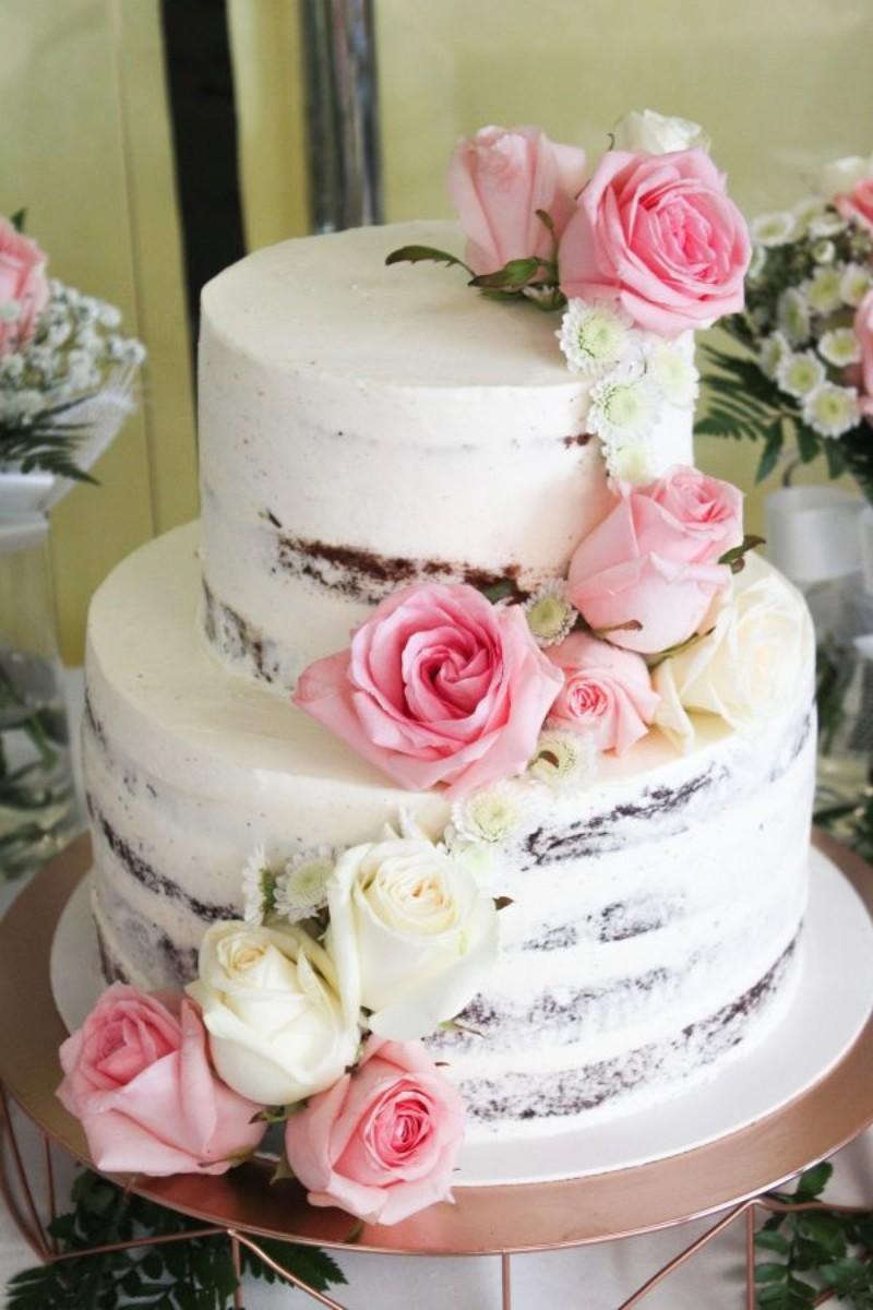 Seminaked Cake Rose Waterfall pastel de boda Baci d'Angelo