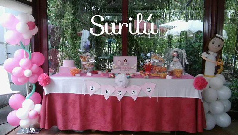 Mesa dulce y decoración globos