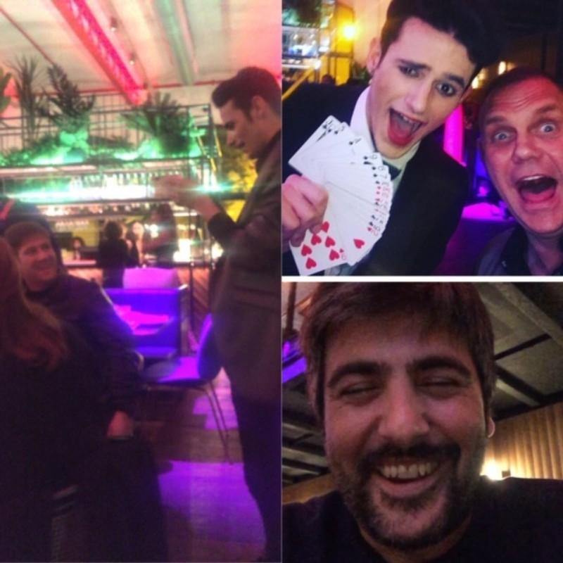 Magia para Carlos Latre, Nacho Vidal y David de Estopa en un restaurante de Barc