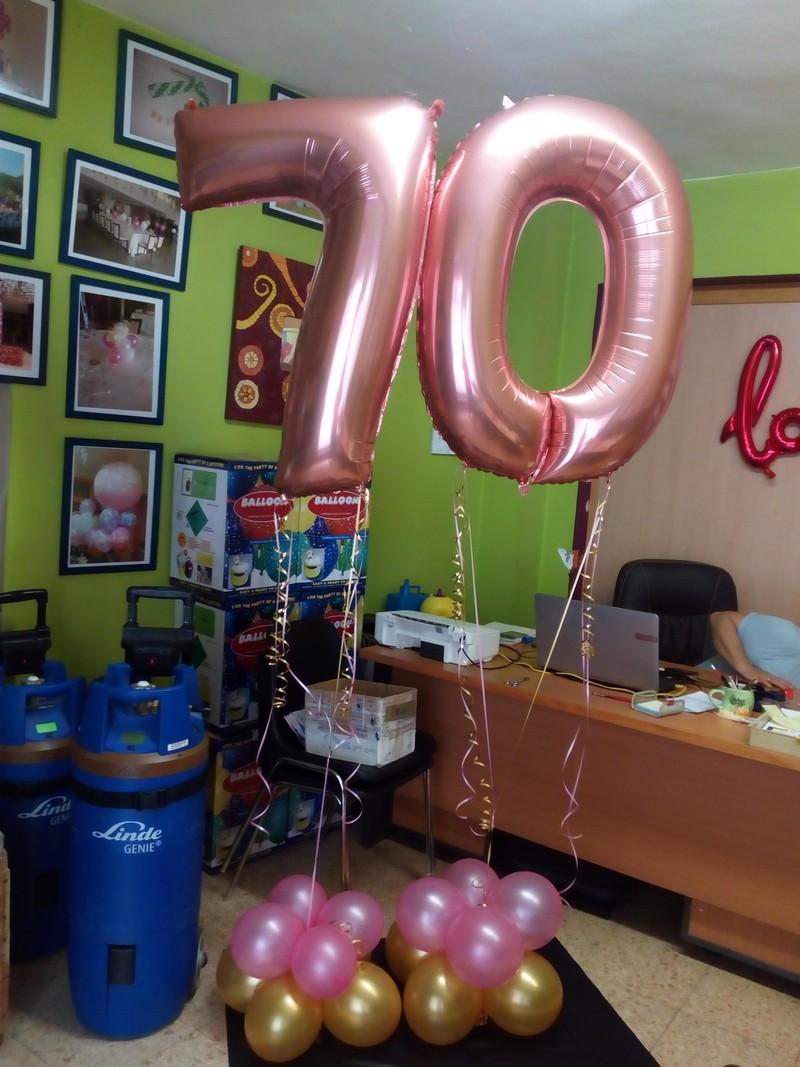 globos con forma de números oro rosado_un mar de globos